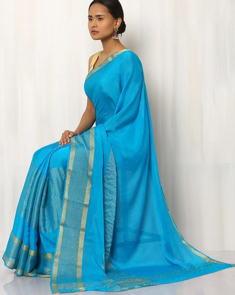 Pure Silk Chiffon Saree With Zari Border By Rudrakaashe-MSU ( Multi )