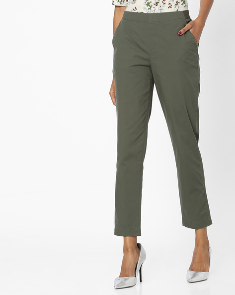 Ankle-Length Trousers With Elasticated Waist By FIG ( Olive )
