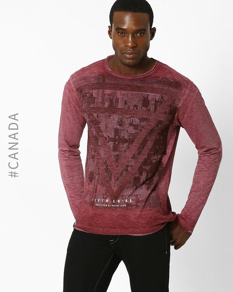 Printed Slim T-shirt With Slub Knit By Point Zero ( Merlot )