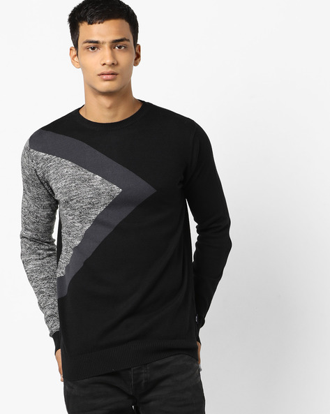 Colourblock Pullover With Ribbed Hems By Jack & Jones ( Black )