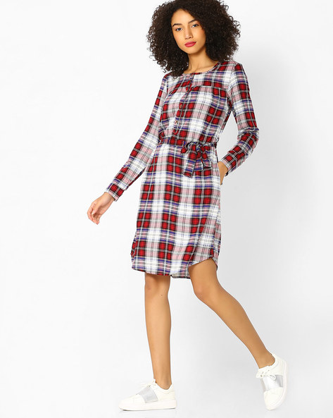 Checked Shirt Dress With Tie-Up By FIG ( Maroonburg )