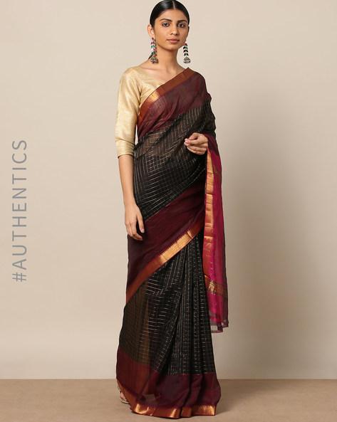 Handloom Mangalgiri Checked Cotton Silk Saree By Indie Picks ( Navy )