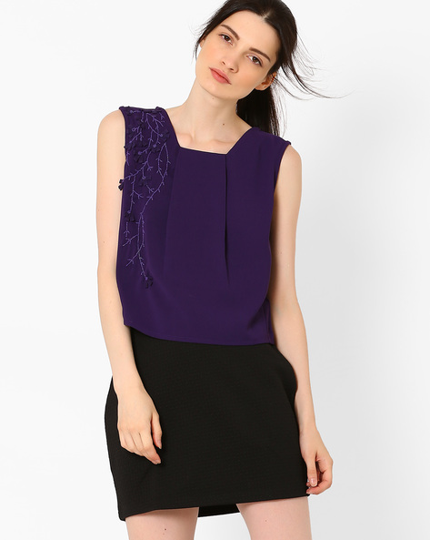 Boxy Top With Embellishments By AJIO ( Navyblue )