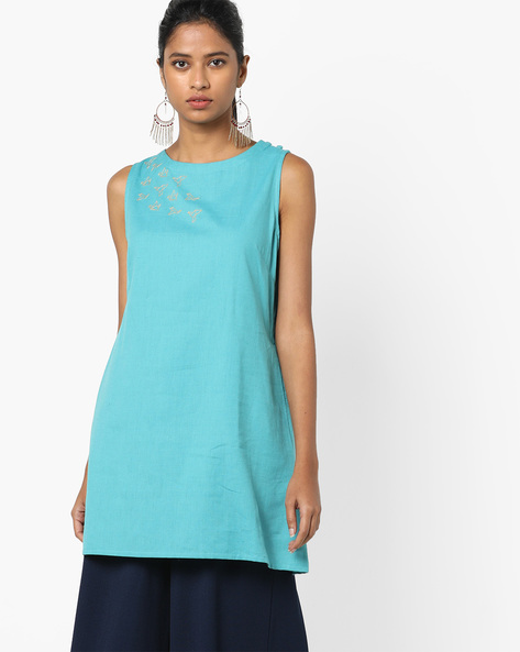 Sleeveless Tunic With Placement Embroidery By AJIO ( Teal )
