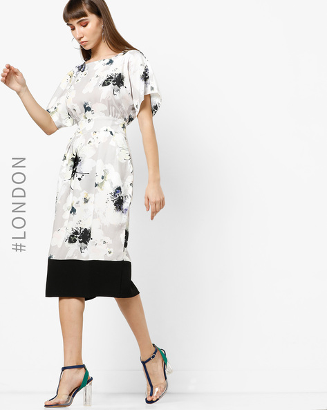 Floral Print Pencil Dress With Extended Sleeves By Closet London ( Multi )