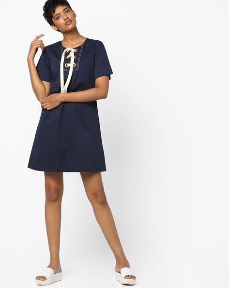 A-line Dress With Tie-Up By AJIO ( Navy )