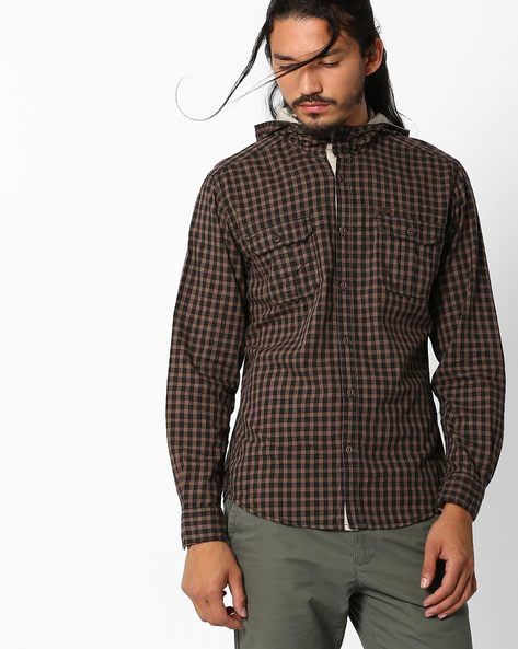 Checked Slim Shirt With Hood By DNM X ( Khaki )