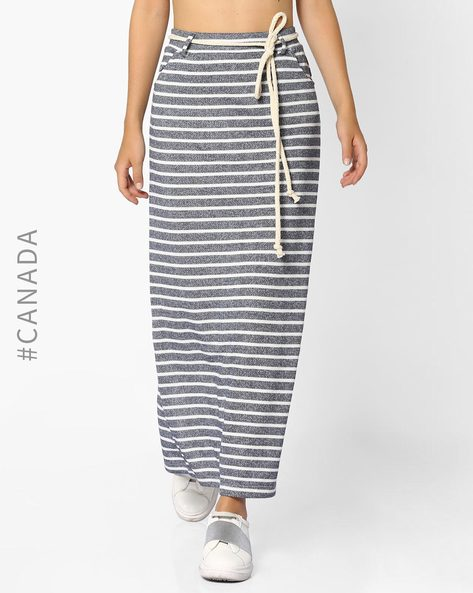 Striped Maxi Skirt With Belt By Point Zero ( Navyblue )