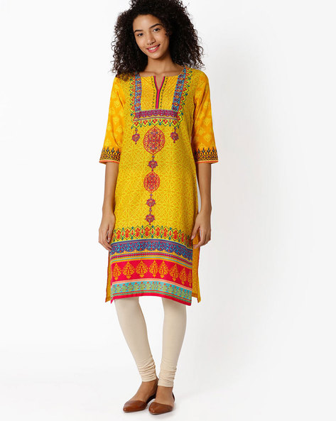 Printed Straight Kurta By Rangriti ( Yellow )