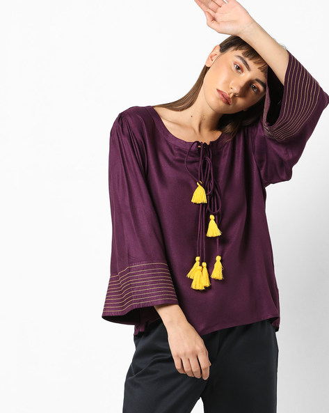 Boxy Top With Flared Sleeves By AJIO ( Purple )