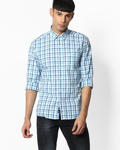 Checked Shirt With Patch Pocket By NETPLAY ( Aqua )