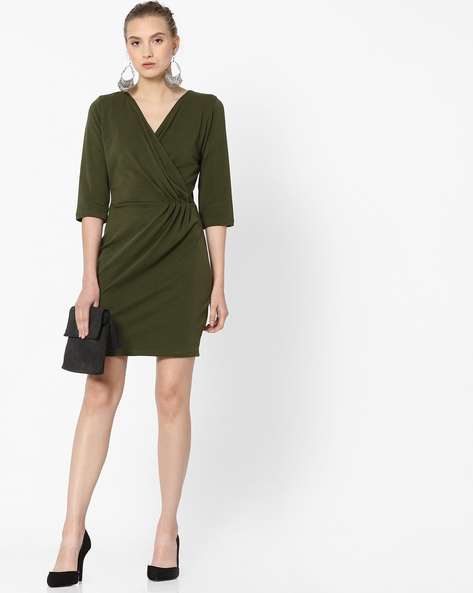 Sheath Dress With Surplice Neckline By ANONYMOUS CO ( Green )