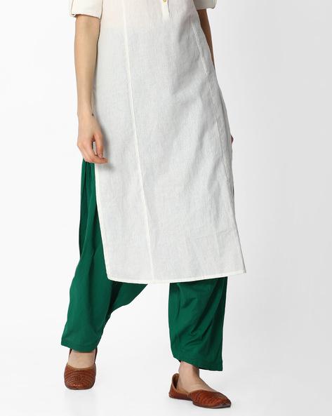 Patiala Pants & Crushed Dupatta Set By Jaipur Kurti ( Green ) - 460075698001