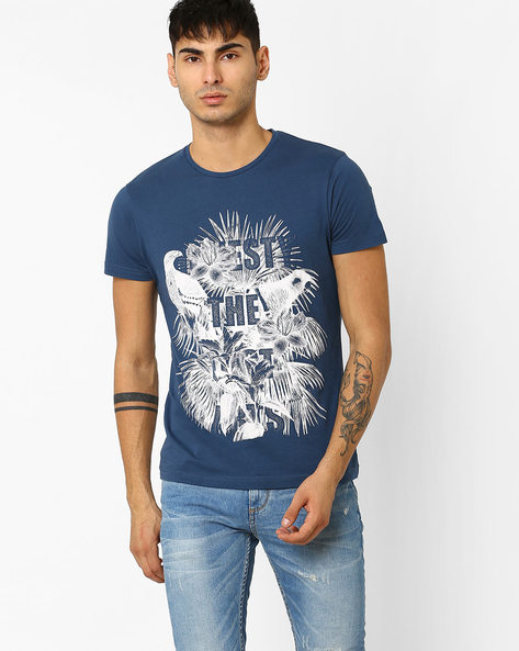 Graphic Print Slim Fit T-shirt By ADAMO LONDON ( Navyblue )