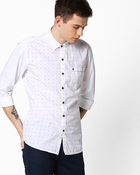 Slim Fit Printed Casual Shirt By WRANGLER ( White )