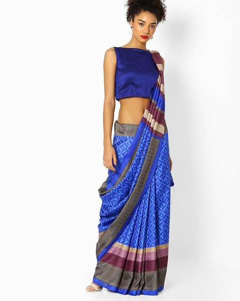 Printed Saree With Contrast Border By Florence ( Blue )