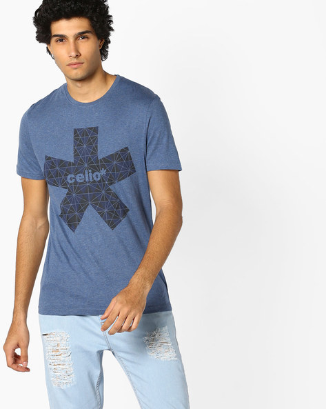 Printed Crew-Neck T-shirt By Celio ( Indigo )