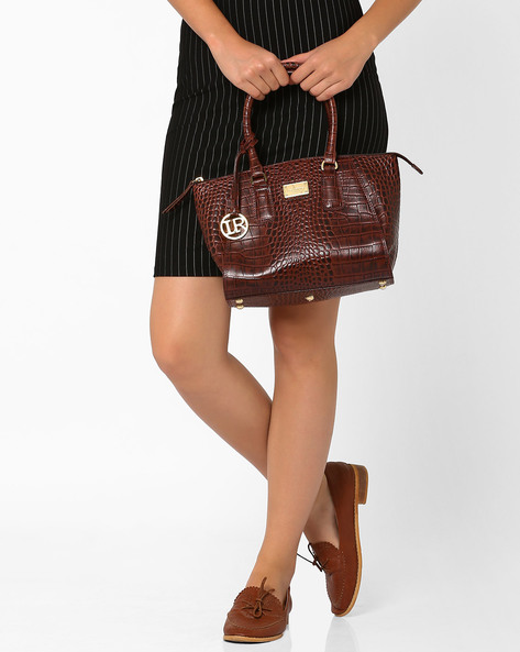 Leather Handbag With Rolled Handles By La Roma ( Brown )