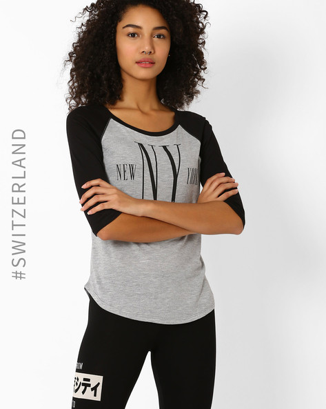 Printed T-shirt With Raglan Sleeves By TALLY WEiJL ( Grey )