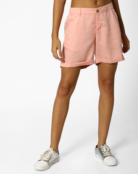 Flat-Front Shorts With Upturned Hems By PE WW Casual ( Peach )
