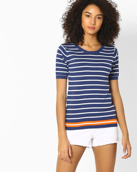 Striped Top With Ribbed Hems By Teamspirit ( Navy )