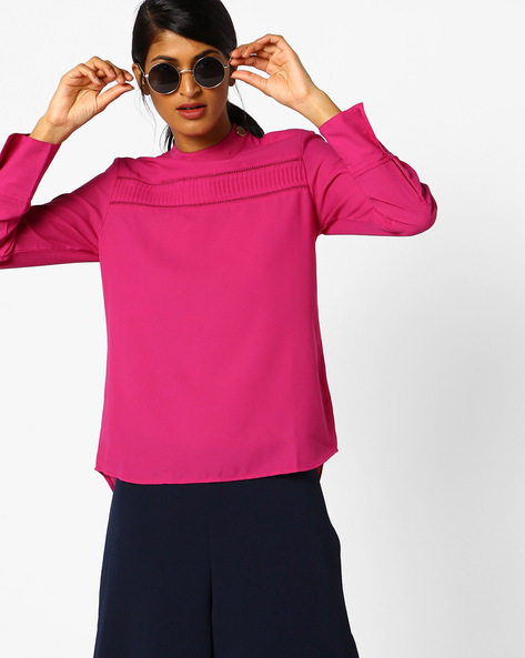 High-Low Top With Lace Insets By AJIO ( Magenta )