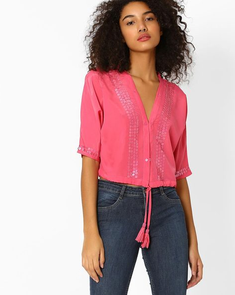 V-neck Crop Top With Sequins By AJIO ( Pink )