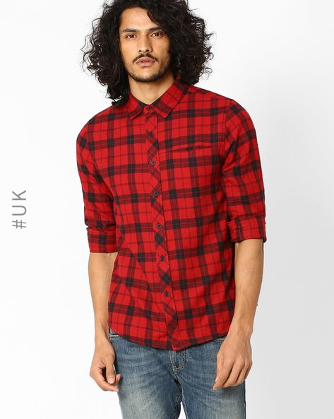 Checked Cotton Shirt With Chest Pocket By Native Youth ( Olive )