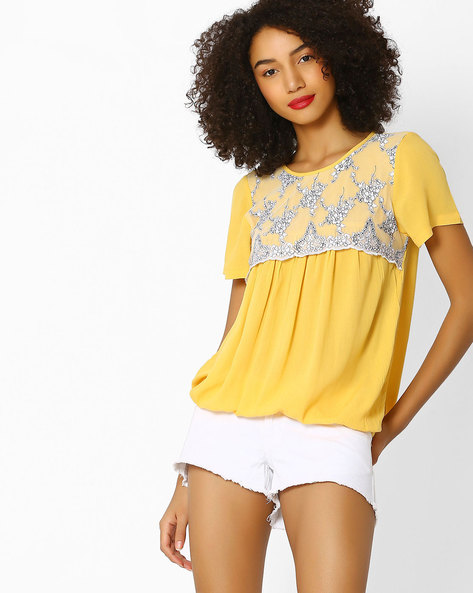 Layered Top With Floral Embroidery By FIG ( Yellow )