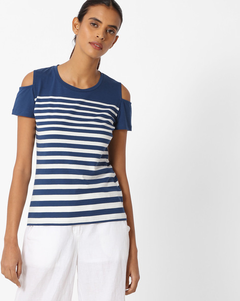 Striped T-shirt With Cold-Shoulder Sleeves By KRAUS ( White )
