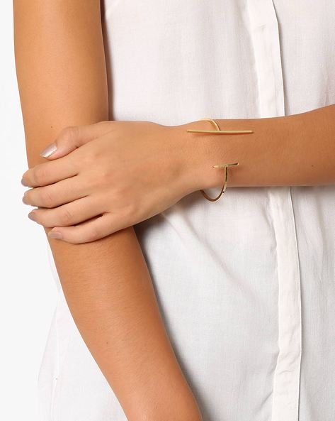 Cuff Bracelet With Line Design By Pipa Bella ( Gold )