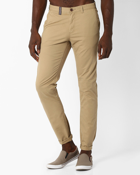 Slim Fit Cotton Chinos By NETPLAY ( Beige )