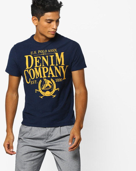 Printed Crew-Neck T-shirt By US POLO ( Denim )
