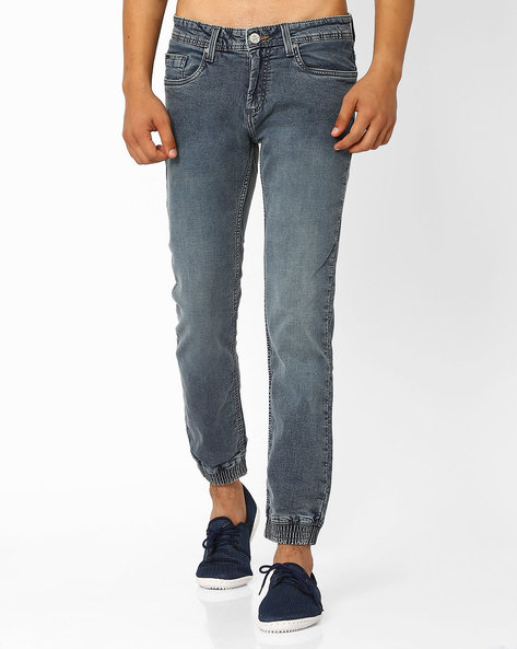 Jogger Fit Stretch Jeans By BASICS ( Navy )