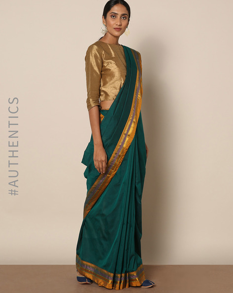 Cotton Silk Ilkal Saree With Zari Border By Indie Picks ( Green )