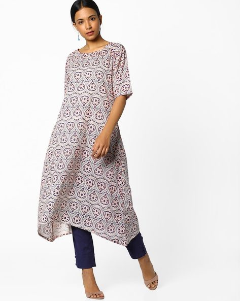 Printed High-Low Kurta By Melange By Lifestyle ( White )