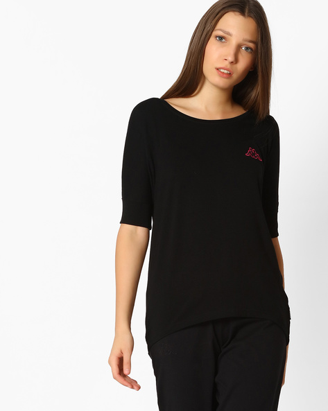 Viscose Top With Embroidered Logo By KAPPA ( Black )
