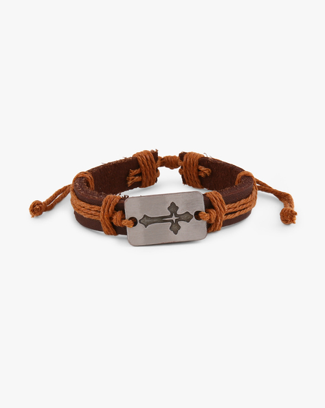 Woven Thread Faux Leather Bracelet With Metallic Accent By ALPHA MAN ( Brown )