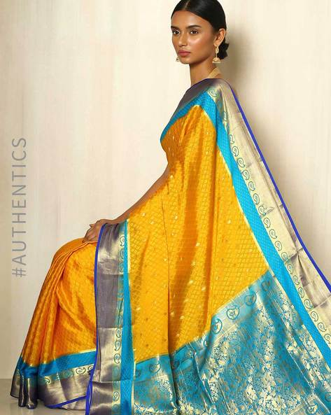 Pure Mysore Silk Crepe Saree By Indie Picks ( Yellow )