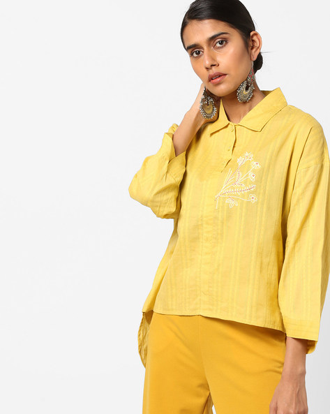 High-Low Tunic With Floral Embroidery By AJIO ( Yellow )