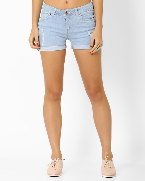 Distressed Denim Shorts With Embellishments By AJIO ( Lightblue )