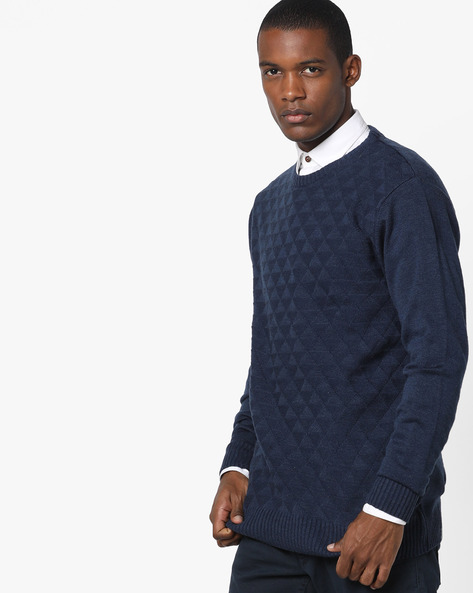 Crew-Neck Pullover With Knitted Pattern By NETPLAY ( Blue )