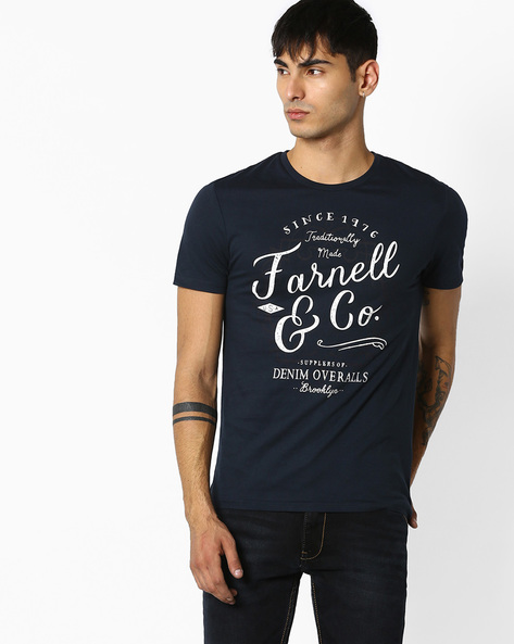 Crew-Neck T-shirt With Patch Pocket By Celio ( Navy )