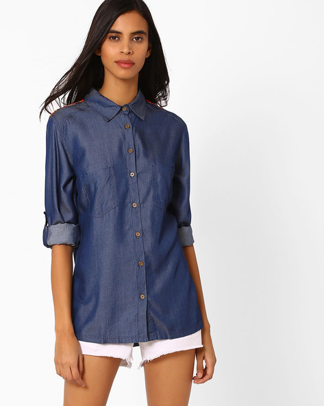 Denim Shirt With Roll-Tab Sleeves By Vajor ( Sblue )