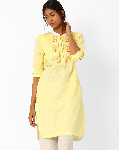 Straight Kurta With Mock Jacket By AJIO ( Yellow )