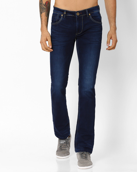 Lightly Washed Slim Fit Jeans By Killer ( Indigo )
