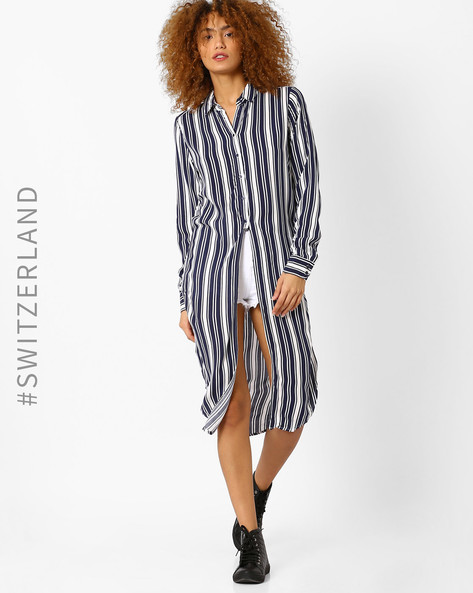 Striped Maxi Shirt With Slits By TALLY WEiJL ( White )
