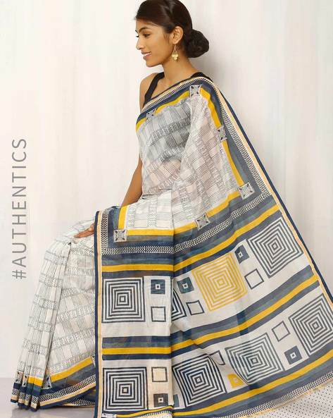 Hand Block Print Chanderi Saree By Keri ( White )
