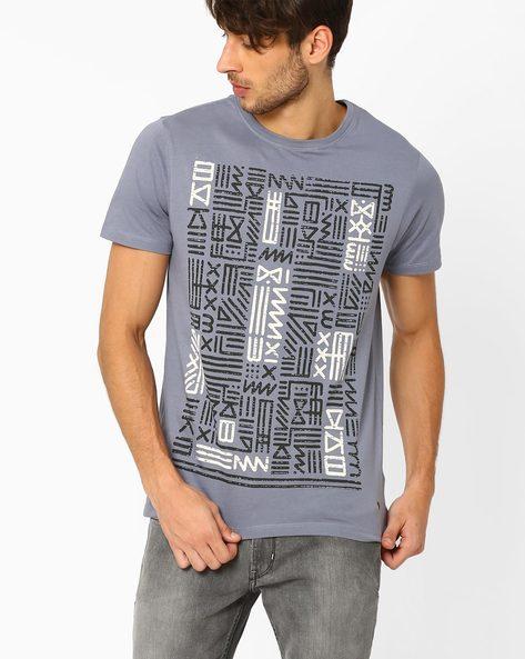 Graphic Print T-shirt By AJIO ( Grey ) - 460023007011