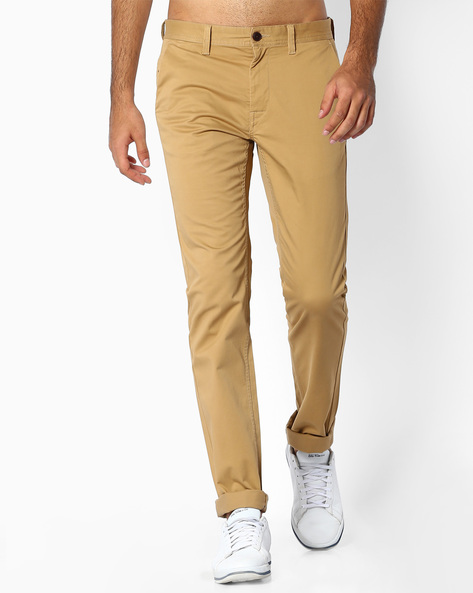 Flat-Front Slim Fit Trousers By INDIAN TERRAIN ( Khaki )